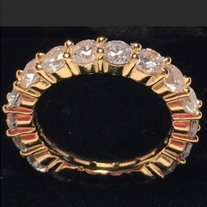 Vint Eternity Ring 18kt GP(?) wWhite Crystals 5.2